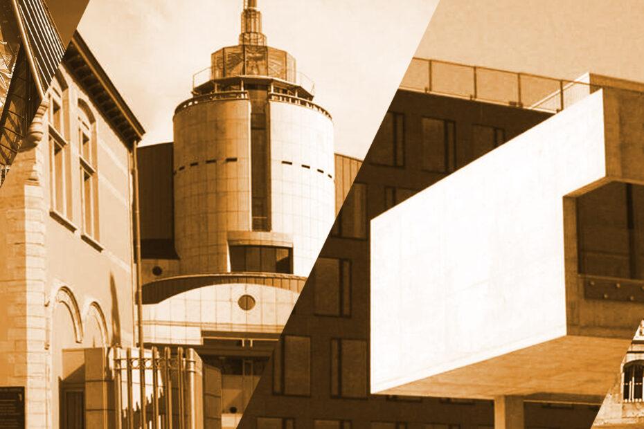 Montage graphique de différents palais de justice belges